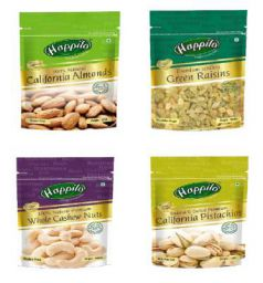 Happilo Premium Dry Fruits Combo 4(California Almonds, Raisins, Whole Cashews, Roasted Pistachios ) Pouch, 850 g
