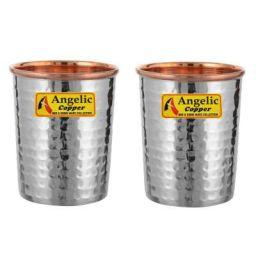 Angelic Copper Steel Hammered Glasses Set 260 ml Set of 2 Brown