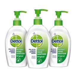 Dettol Original Germ Protection Alcohol based Hand Sanitizer Pump, 200ml (Pack of 3)