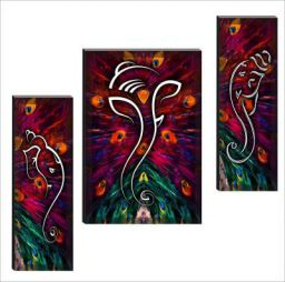 SAF 6MM Ganesha Set of 3 Panel Digital Reprint 12 inch x 18 inch Painting