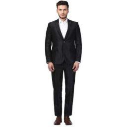 Raymond Solid Polyester Blend Black Slim Fit Peak Lapel Collar Full Sleeve Suits