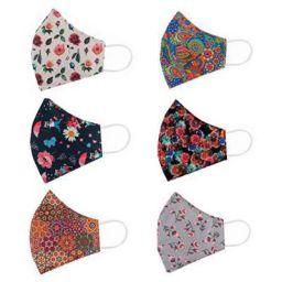 STAR WORK 6 Pcs Fashion Flowers Cloth Face Mask -Washable Cotton Masks