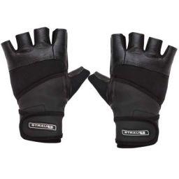 Strauss Leather Gym Gloves with Wrist Wrap (Medium)