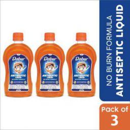 Dabur Sanitize Antiseptic Liquid | No Burn Formula Antiseptic Liquid(1575 ml, Pack of 3)
