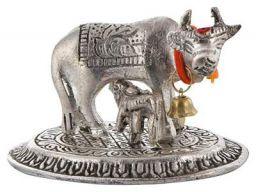 Crafticia Metal Kamdhenu Cow and Calf Idol Silver Finish Holy Spiritual Showpiece for Vastu (9x6x6 cm, Silver)