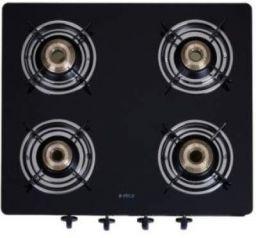 Elica 594 Ct Vetro Blk Glass Manual Gas Stove (4 Burners)