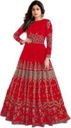 Kedar Fab Embroidered Silk Blend Semi Stitched Anarkali Gown  (Red)