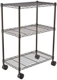 AmazonBasics Height Adjustable 3-Shelves Heavy Duty Rack with Wheels- Black