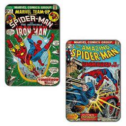 Marvel 'Iron Man - Spiderman' Rectangular MDF Fridge Magnet (7.5 cm x 10 cm, Set of 2)