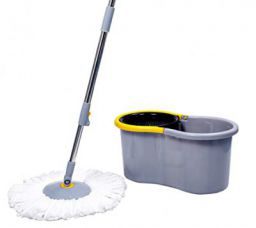 Esquire Elegant Grey Microfiber 360° Spin Mop Set with Easy Wheels