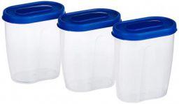 Amazon Brand - Solimo Set of 3 Grocery Jar (450ml), Blue