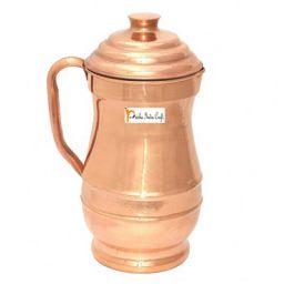 Prisha India Craft Pure Copper Jug Pitcher, Maharaja Jug, Storage Water, 1300 ML