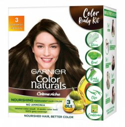 Garnier Color Naturals Crème Hair Color, Shade 3 Darkest Brown, 70ml + 60g + Coloring Tools, 130 ml