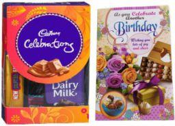 Cadbury Mini Chocolate Gift Pack With Pretty Birthday Greeting Card Combo