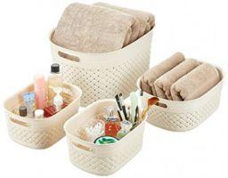Amazon Brand - Solimo 4 Piece Plastic Storage Basket Set (2 S, 1 M, 1 XL), Beige