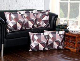AAZEEM Printed Jute Cushion Cover Set of 5, Multicolor
