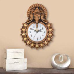 Webelkart Designer Stones Lord Ganesha Plastic Wall Clock