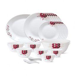 Larah by Borosil - Tiara Series, Paradise, 33 Pcs, Opalware Dinner Set, White
