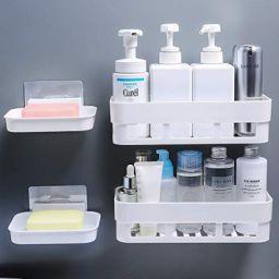 House of vipa Multipurpose Kitchen Bathroom Shelf Wall Holder Storage Rack (2 Bathroom Shelves+ 2 Soap Box)