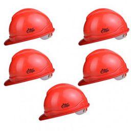 Allen Cooper Industrial Safety Helmet SH-721, Plastic Cradle with Ratchet adjustable Headband - RED (Pack Of 5)