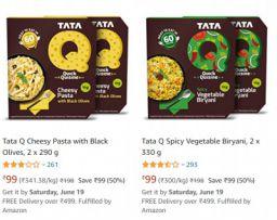 Tata Q Ready to Eat Pasta, Biryani & Schezwan Noodles at Flat 50% OFF