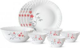 Larah by Borosil Pack of 13 Opalware Rosalie Dinner Set (Microwave Safe)