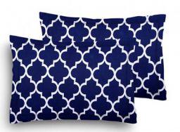 HOME ELITE Cotton 104TC Pillow Cover, 17x27 inch, Blue, Set of 2