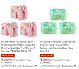 Ole Baby Big Fabric Multi-Utility Diaper Bag Upto 80% Off