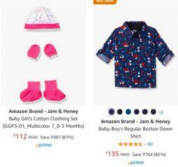 Amazon Brand - Jam & Honey Kids Clothing Upto 85% Off