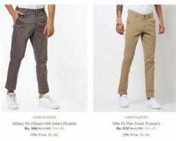 JOHN PLAYERS Men's Trouser Min 76% Off