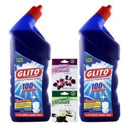 GLITO Toilet Cleaner 1000 ml(Pack of 2)+WINALL Air Freshener 50g(Pack of 2)