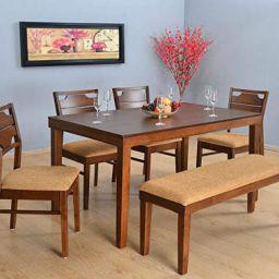 @home by Nilkamal Olenna Four Seater Dining Kit (Walnut)