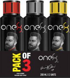 one8 by Virat Kohli Intense + Pure + Active Perfume Body Spray Set-Men Perfume Body Spray (600 ml, Pack of 3)