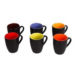 Sampla Tucana Series Ceramic Coffee Mugs - 6 Pieces, Matt Black, 250 ML (Random Inside Colour)