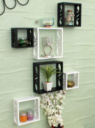 Home Sparkle Wood 6 Cube Shelf (Black & White, Set of 6)