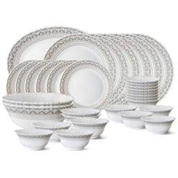 Larah by Borosil Classic Opalware Dinner Set, 33-Pieces, White