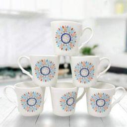 UPC Bone China Ceramics Coffee Mug - Set of 6, Multicolour, 160 ml