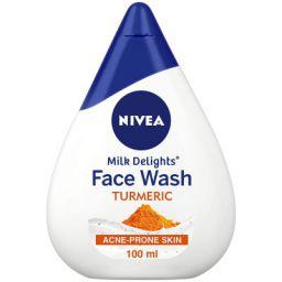 NIVEA Women Face Wash for Acne Prone Skin, Milk Delights Turmeric, Reduces 99.9% Acne causing Bacteria, 100 ml