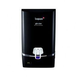 Livpure Glo Star, Wall Mountable RO+UV+UF+Mineraliser 7 L tank-Black, 13 LPH Water Purifier