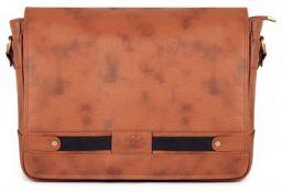 The Clownfish TCFLBFL-GTHBR1 Boodschapper Faux Leather 15.6-inch Laptop Bag (Honey Brown)