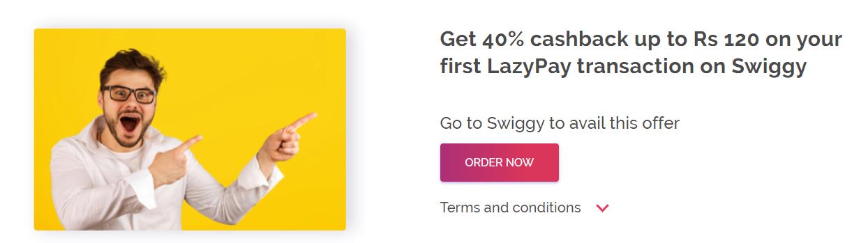 lazypay swiggy 1st Transaction offer