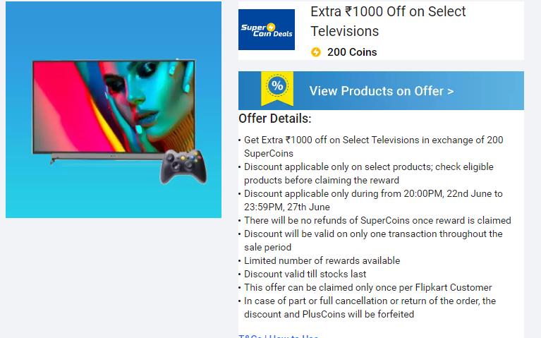 Flipkart Supercoin TV Offer